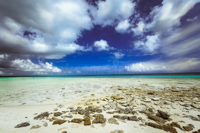 Stunning, gorgeous, beautiful inviting view of tropical beach and ocean at Cuban Cayo Coco island royalty free stock photos