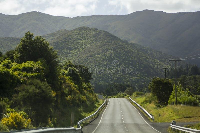 Stunning green mountain road landscape stock image
