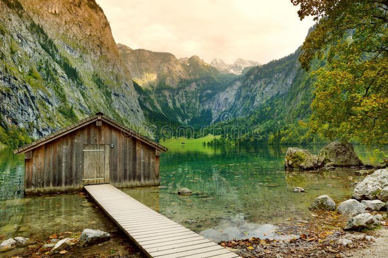 Stunning green waters of Obersee, located near Konigssee, known as Germany`s deepest and cleanest lake, situated in the extreme s royalty free stock image