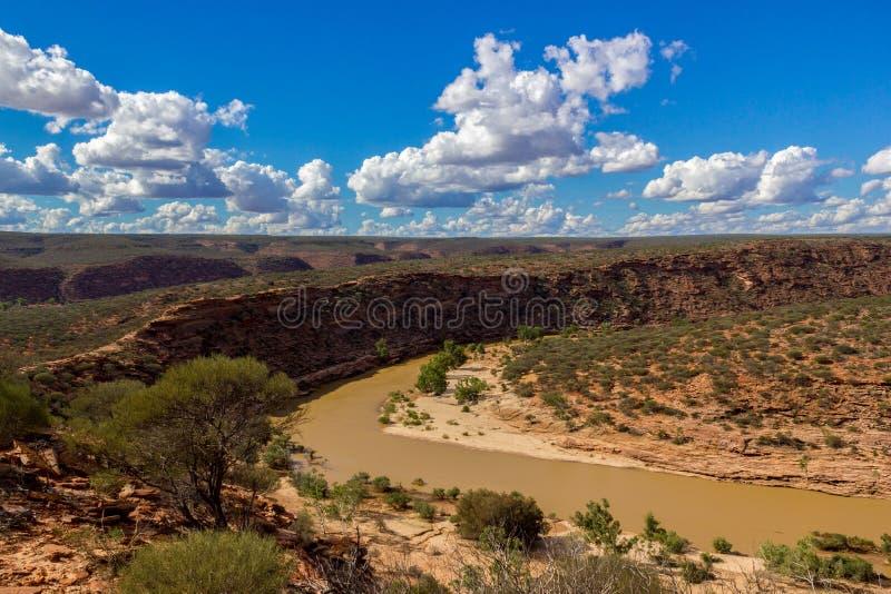 Stunning Kalbarri National Park with sandstone, vegetation and scenic gorge views in Western Australia stock photo
