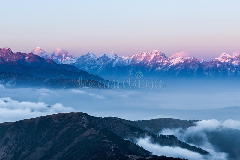 Stunning landscape with amazing clouds floating. royalty free stock image