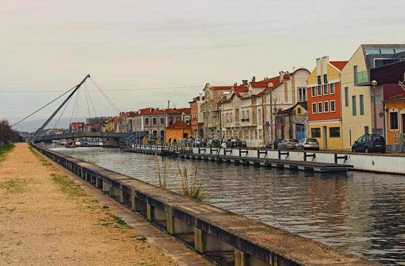 Stunning landscape of city Aveiro, known as the Venice of Portugal. Colorful vintage buildings near city channel royalty free stock photos