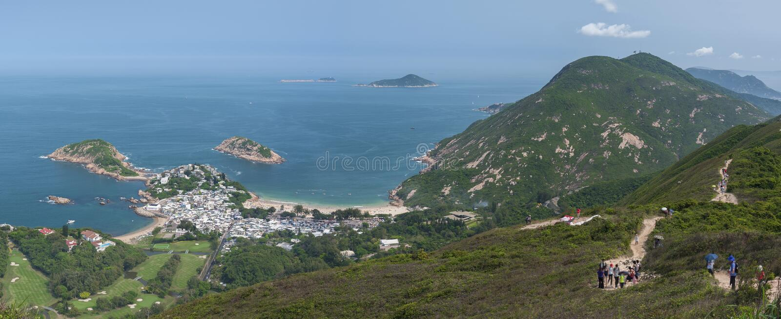 Stunning landscape of Hong Kong. Viewed from. Stunning landscape of resort village Shek O in Hong Kong. Viewed from Dragon's Back which has been voted the royalty free stock photo
