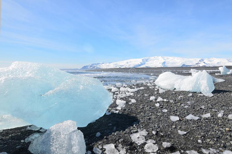 Stunning landscape of glacial ice in Iceland stock photo