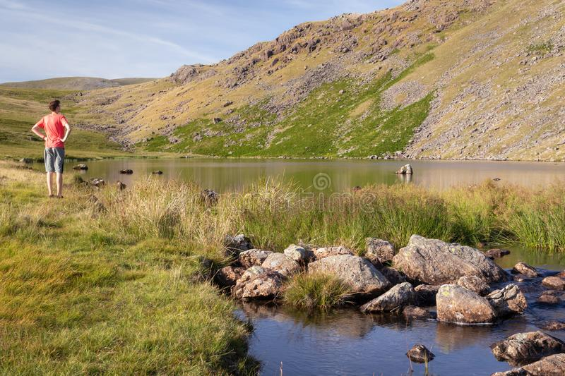 Stunning landscape view of Greendale Tarn in the Lake District N stock images