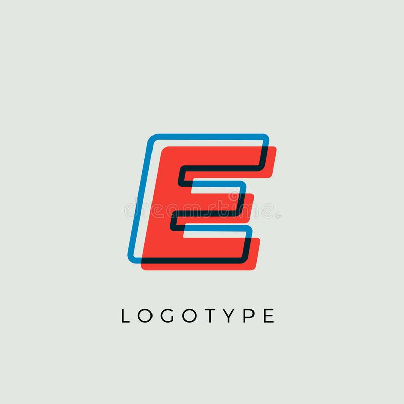 Free Stunning Letter E With 3d Color Contour, Minimalist Letter Graphic For Modern Comic Book Logo, Cartoon Headline Stock Photo - 209232420