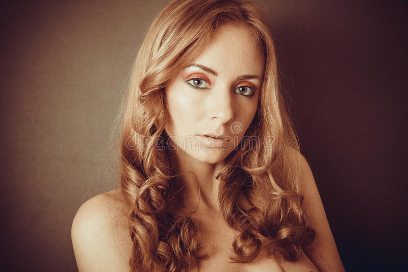 Stunning look and curly hair royalty free stock photos