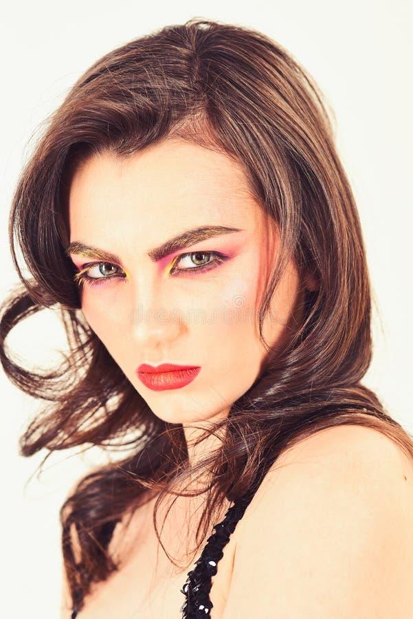 Stunning makeup inspirational idea. Applying decorative cosmetics and makeup. Pretty woman wear creative makeup. Sexy royalty free stock image