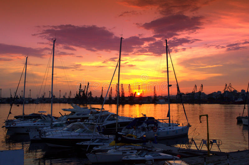 Stunning marina sunset stock images