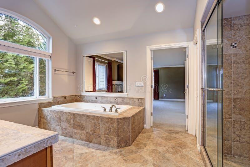 Stunning master bathroom with luxury spa tub. stock photo