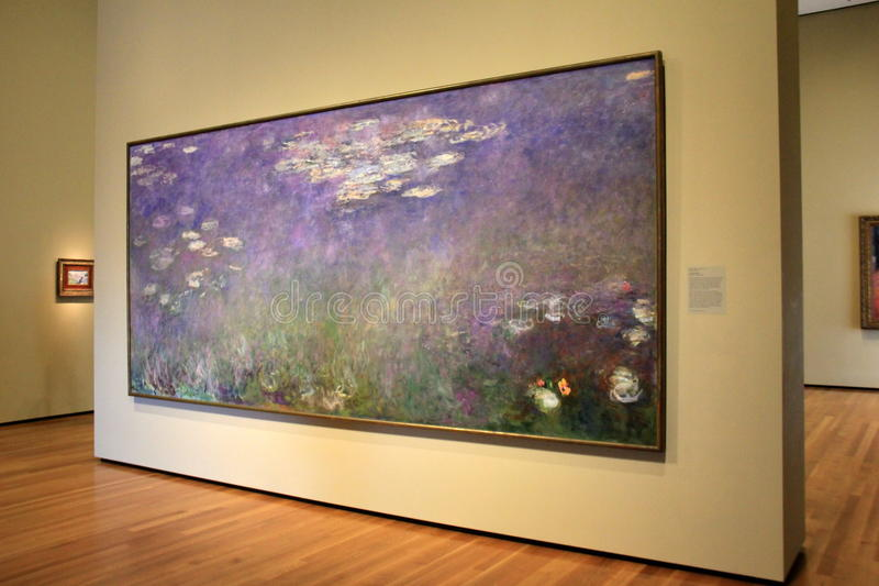 Stunning masterpiece,Monet's Water Lilies,Cleveland Art Museum,Ohio,2016 royalty free stock photos