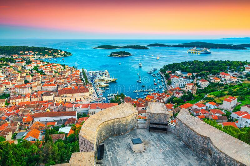 Stunning medieval Hvar town with spectacular harbor at sunset, Croatia stock images