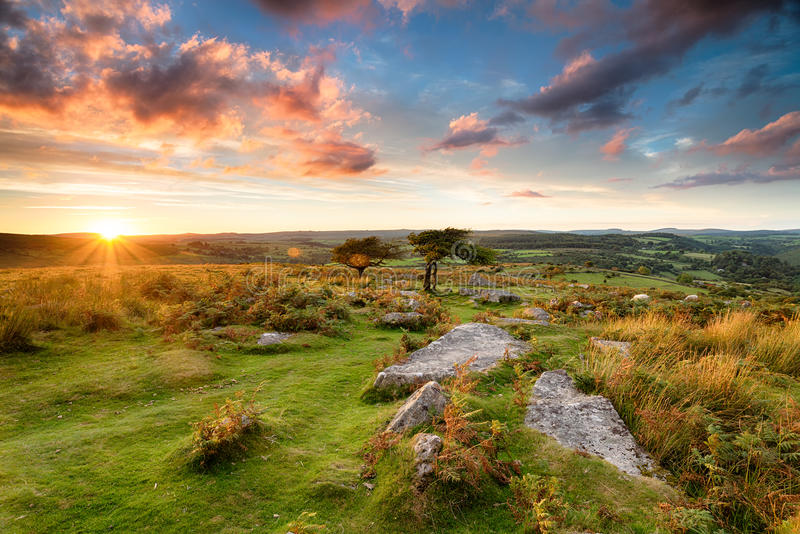 Stunning Moorland Sunset. Stunning sunset over Dartmoor from Combestone Tor near Hexworthy stock photography