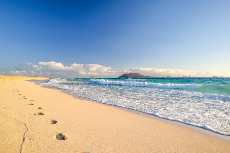 Stunning morning view of the islands of Lobos and Lanzarote seen from Corralejo Beach Grandes Playas de Corralejo on Fuerteventu. Ra, Canary Islands, Spain stock photography