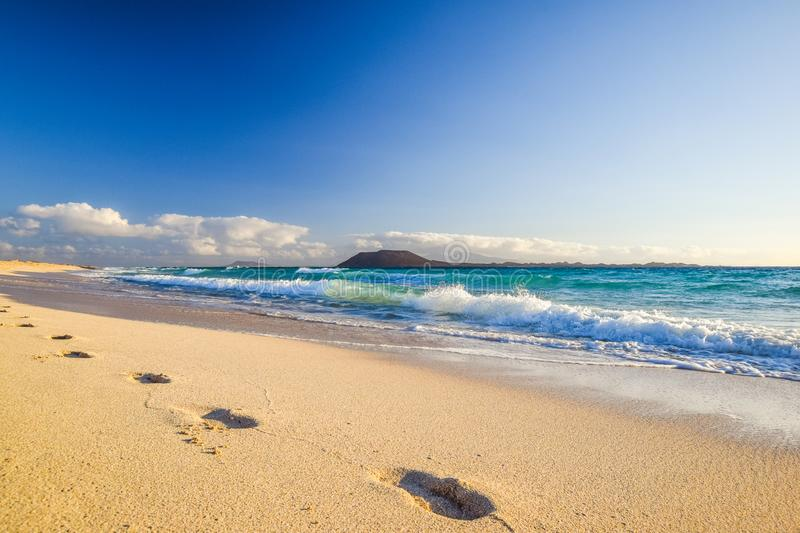 Stunning morning view of the islands of Lobos and Lanzarote seen from Corralejo Beach Grandes Playas de Corralejo on Fuerteventu. Ra, Canary Islands, Spain royalty free stock image