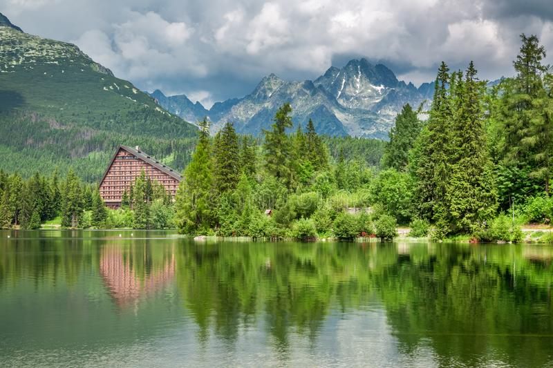 Stunning mountain lake in Strbske Pleso, Slovakia. Europe royalty free stock images