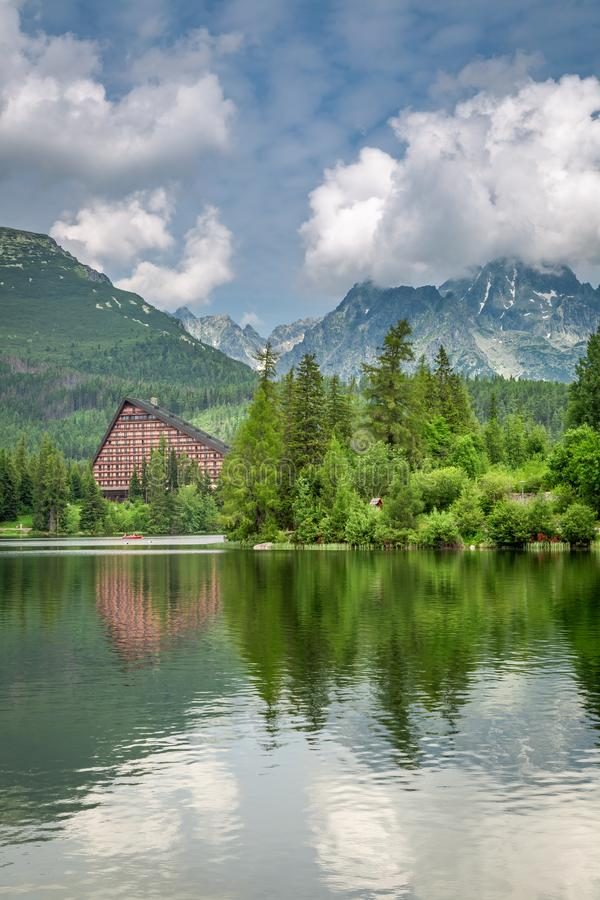 Stunning mountain lake in Strbske Pleso in Slovakia. Europe stock photo