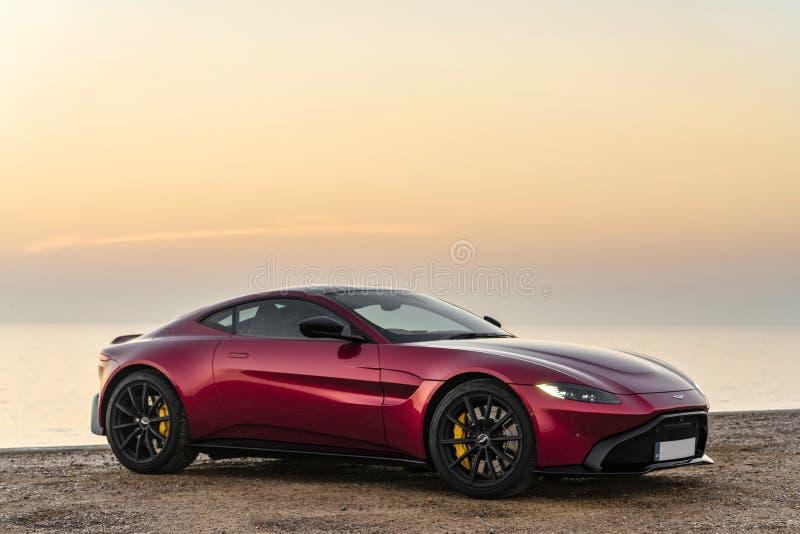 The Aston Martin Vantage at Sunrise ... royalty free stock images