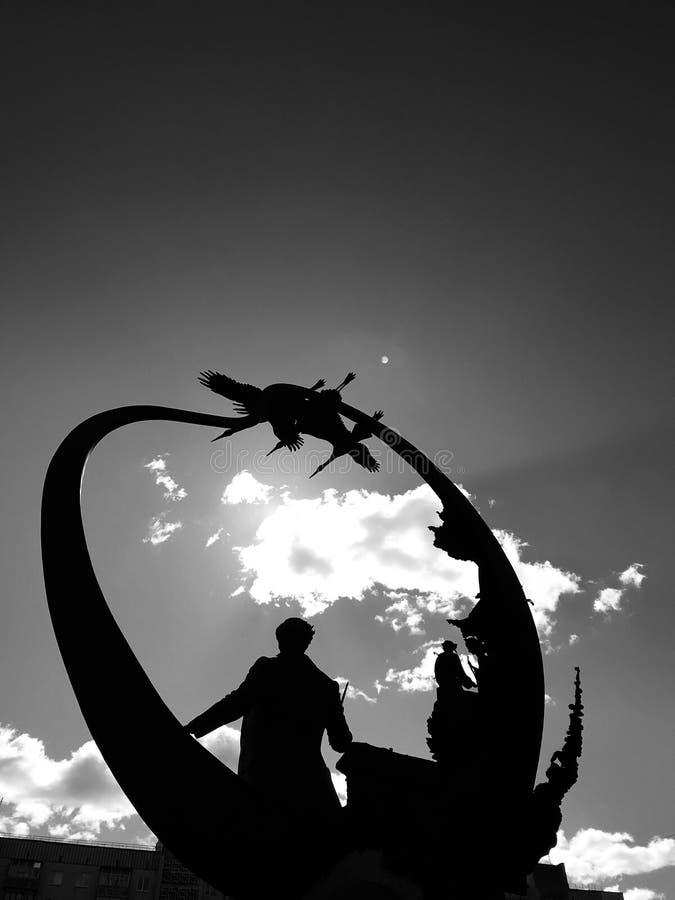 The stunning new statue of Ukrainian hero Taras Shevchenko in Irpin, Ukraine in black & white - Kyiv - Ukraine - Irpin royalty free stock photography