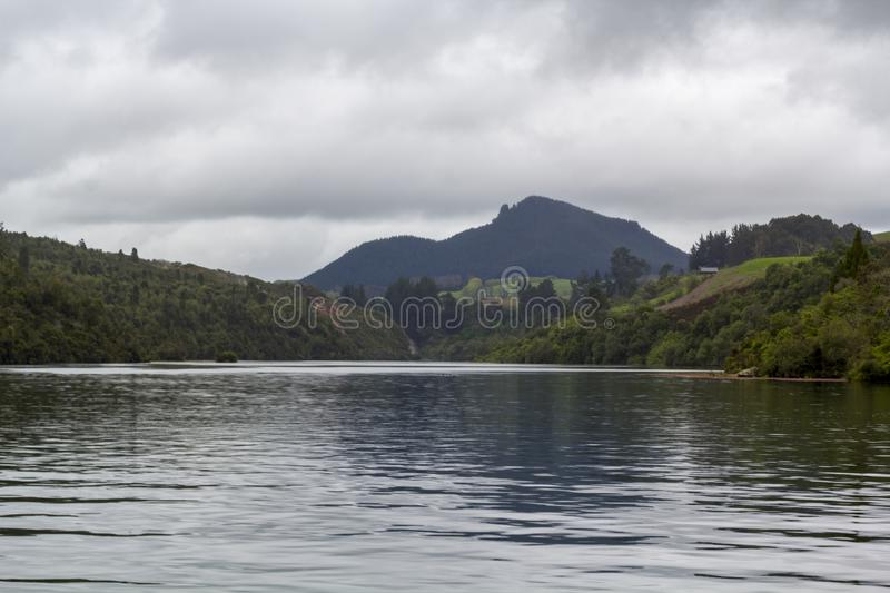 Stunning New Zealand landscape, river and mountains in the bakground royalty free stock photo