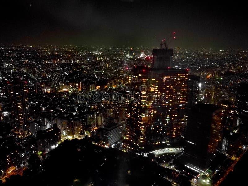 Stunning night light scene of Tokyo metropolis in Japan stock photography