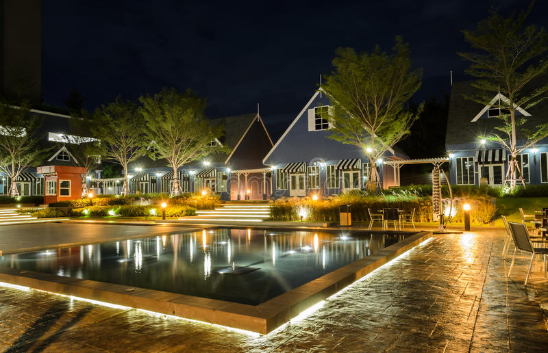 Stunning night view of Dutch style house stock photography