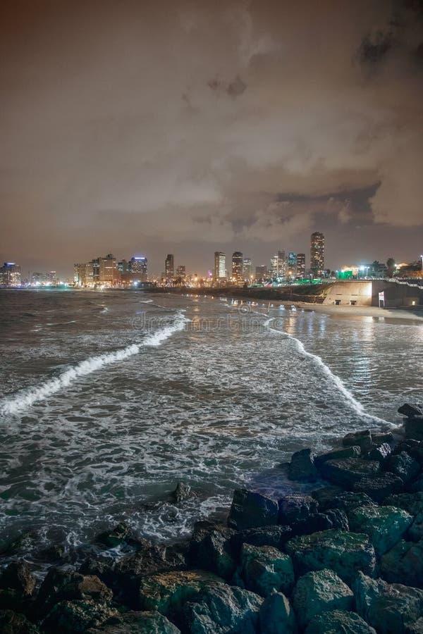 Stunning night view of Tel Aviv stock images