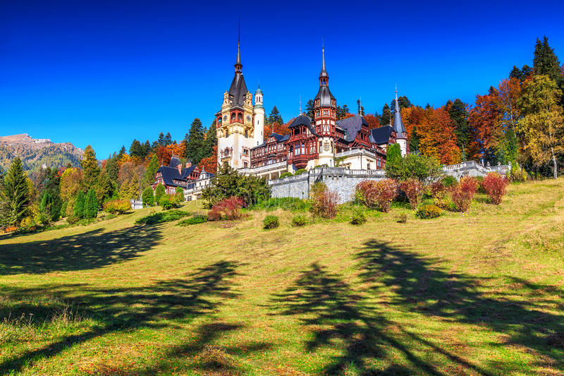 Stunning ornamental garden and royal castle,Peles,Sinaia,Transylvania,Romania,Europe stock image