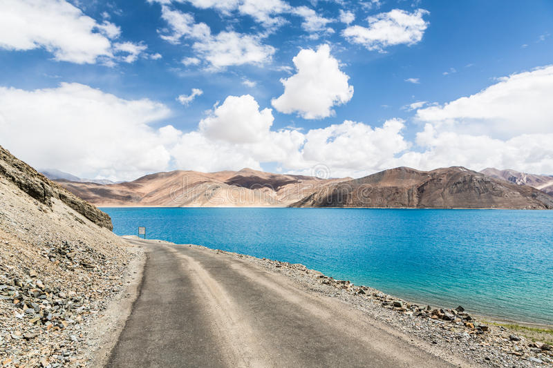 Stunning Pangong lake in Ladakh, India. The lake shares a border stock images
