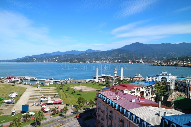 Stunning Panoramic Aerial View of the Port of Batumi Area op een zonnige dag in Georgia stock foto's