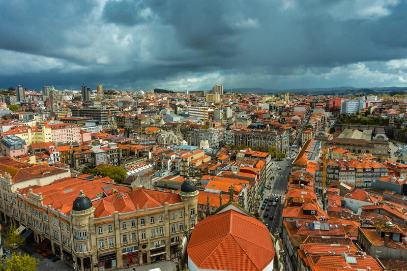 Stunning panoramic aerial view of traditional historic buildings in Porto royalty free stock photo