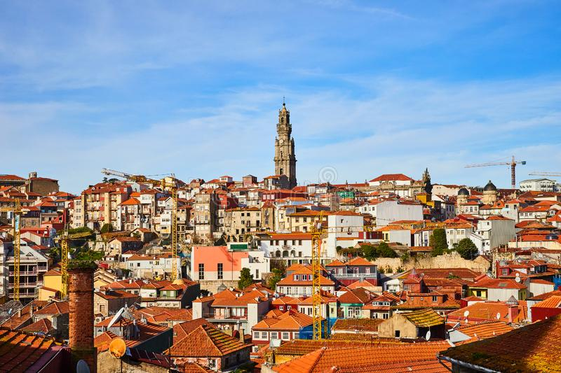 Stunning panoramic aerial view of traditional historic buildings in Porto. Vintage houses with red tile roofs. Famous touristic stock photos