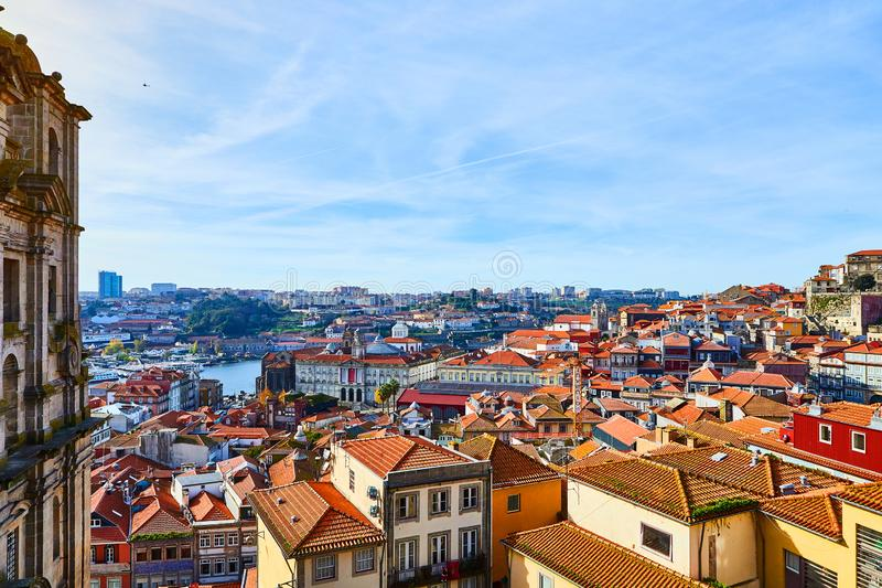 Stunning panoramic aerial view of traditional historic buildings in Porto. Vintage houses with red tile roofs. Famous touristic. Stunning panoramic aerial view royalty free stock photography