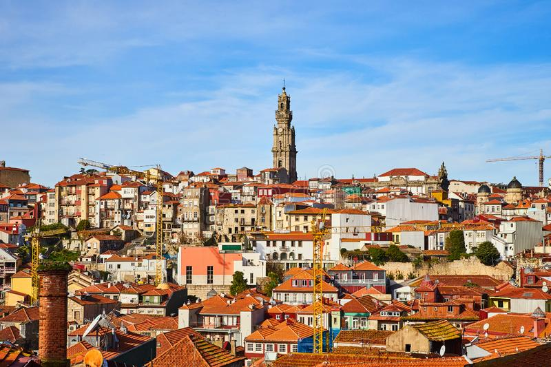 Stunning panoramic aerial view of traditional historic buildings in Porto. Vintage houses with red tile roofs. Famous touristic. Stunning panoramic aerial view royalty free stock photo