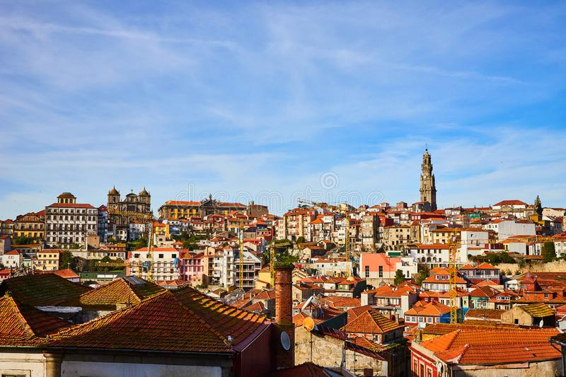 Stunning panoramic aerial view of traditional historic buildings in Porto. Vintage houses with red tile roofs. Famous touristic. Stunning panoramic aerial view stock images
