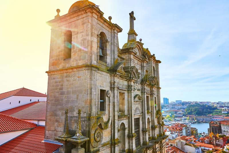 Stunning panoramic aerial view of traditional historic buildings in Porto. Vintage houses with red tile roofs. Famous touristic. Stunning panoramic aerial view royalty free stock images