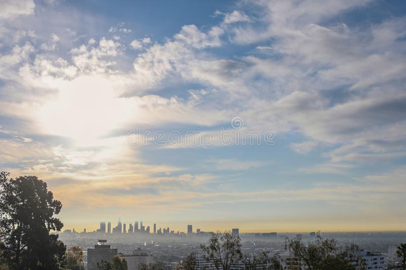 Stunning panoramic morning view of Downtown Los Angeles and Hollywood from Runyon Canyon, Hollywood Hills, California stock images