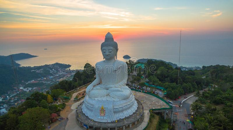 Stunning panoramic view Phuket white big Buddha landmark of Phuket stock image