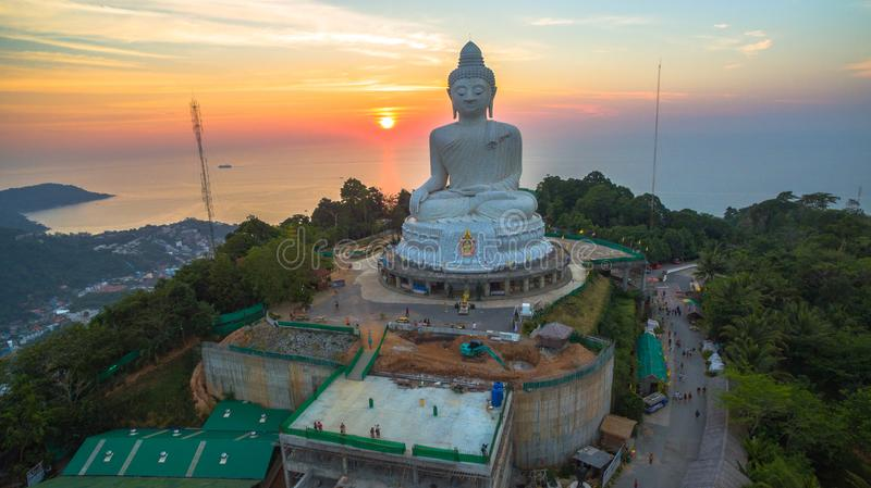 Stunning panoramic view Phuket white big Buddha landmark of Phuket royalty free stock image