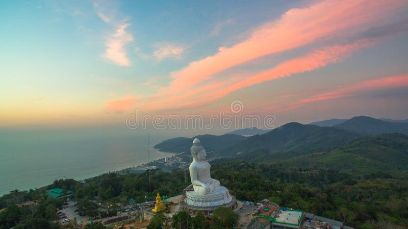 Stunning panoramic view Phuket white big Buddha landmark of Phuket island can see from distance royalty free stock photo