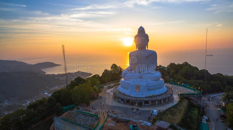 Stunning panoramic view Phuket white big Buddha landmark of Phuket stock photography