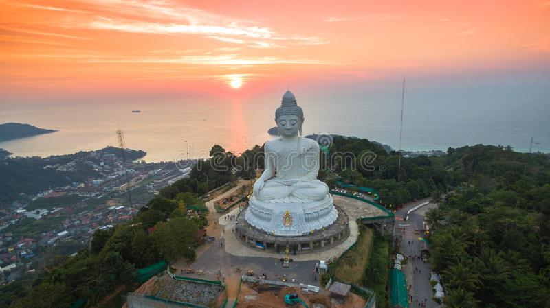 Stunning panoramic view Phuket white big Buddha landmark of Phuket stock images