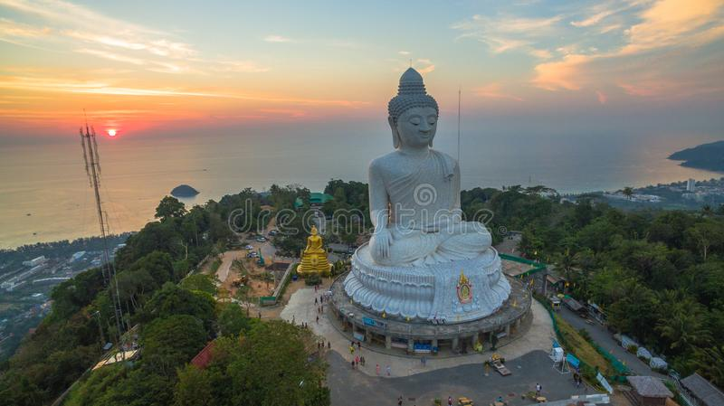 Stunning panoramic view Phuket white big Buddha landmark of Phuket royalty free stock images