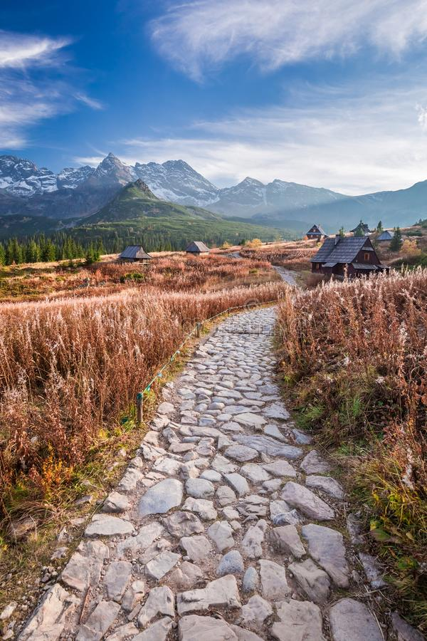 Free Stunning Path To The Tatras At Sunset In Autumn Royalty Free Stock Images - 103173579