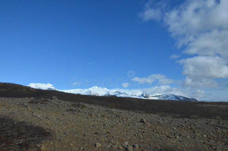 Breathtaking view of snow capped mountains in Iceland royalty free stock photos