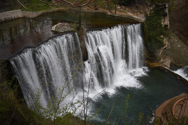 Stunning Pliva waterfall in Jajce stock image