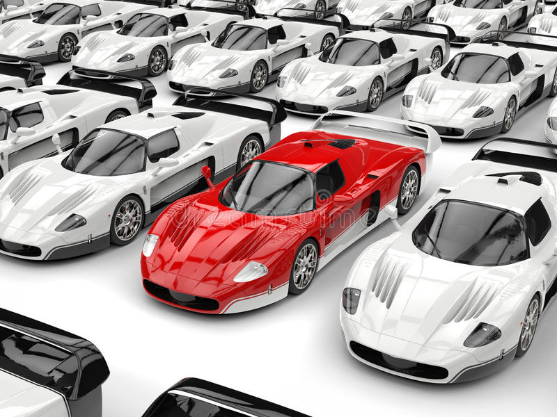 Stunning red modern concept sports car stands out in a sea of white sports cars. Isolated on white background royalty free illustration