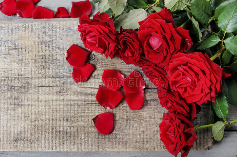 Stunning red roses on wooden table stock image
