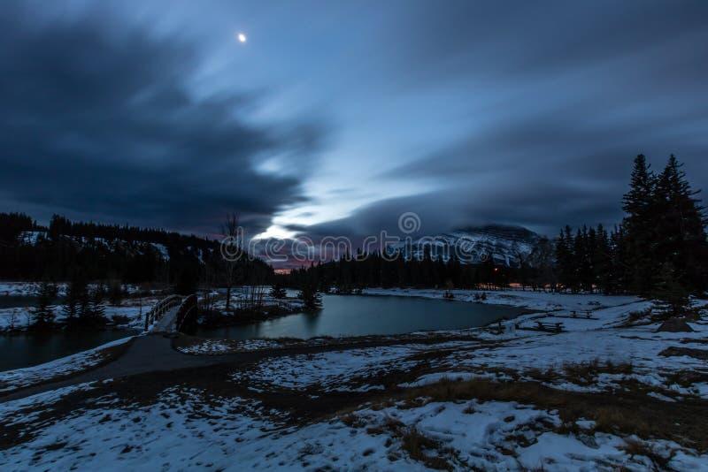 Day break over Cascade Ponds, Banff National Park, Alberta, Canada royalty free stock photos