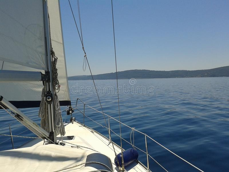 Stunning sailing in Croatia. Sailing yachting in stunning calm seas royalty free stock images